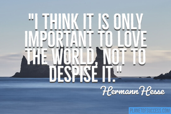 I think it is only important to love the world