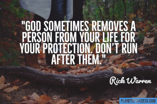 God sometimes removes a person from your life quote
