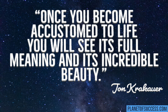 Once you become accustomed to life you will see it's full of meaning and its incredible beauty quote
