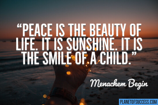 Peace is the beauty of life quote