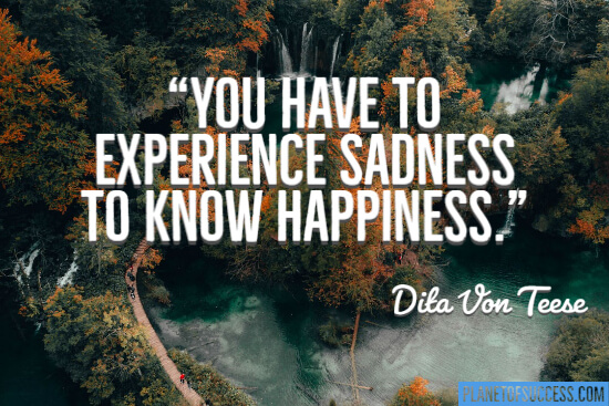 You have to experience sadness to know happiness quote