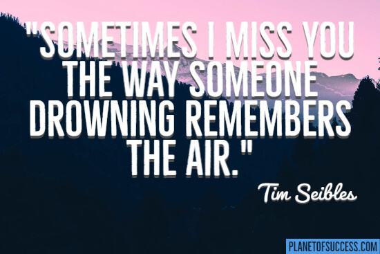 I miss you the way someone drowning remembers the air quote